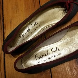 7132396cec5f6 French Sole Shoes - French Sole Navy Suede Ballet Flats Red Trim